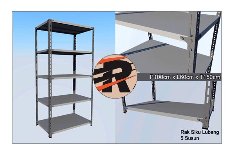 Rak Besi Siku Lubang Ukuran 100 x 60 x 150 cm, 5 Ambalan