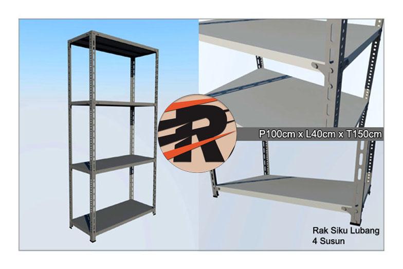 Rak Besi Siku Lubang Ukuran 100 x 40 x 150 cm, 4 Ambalan