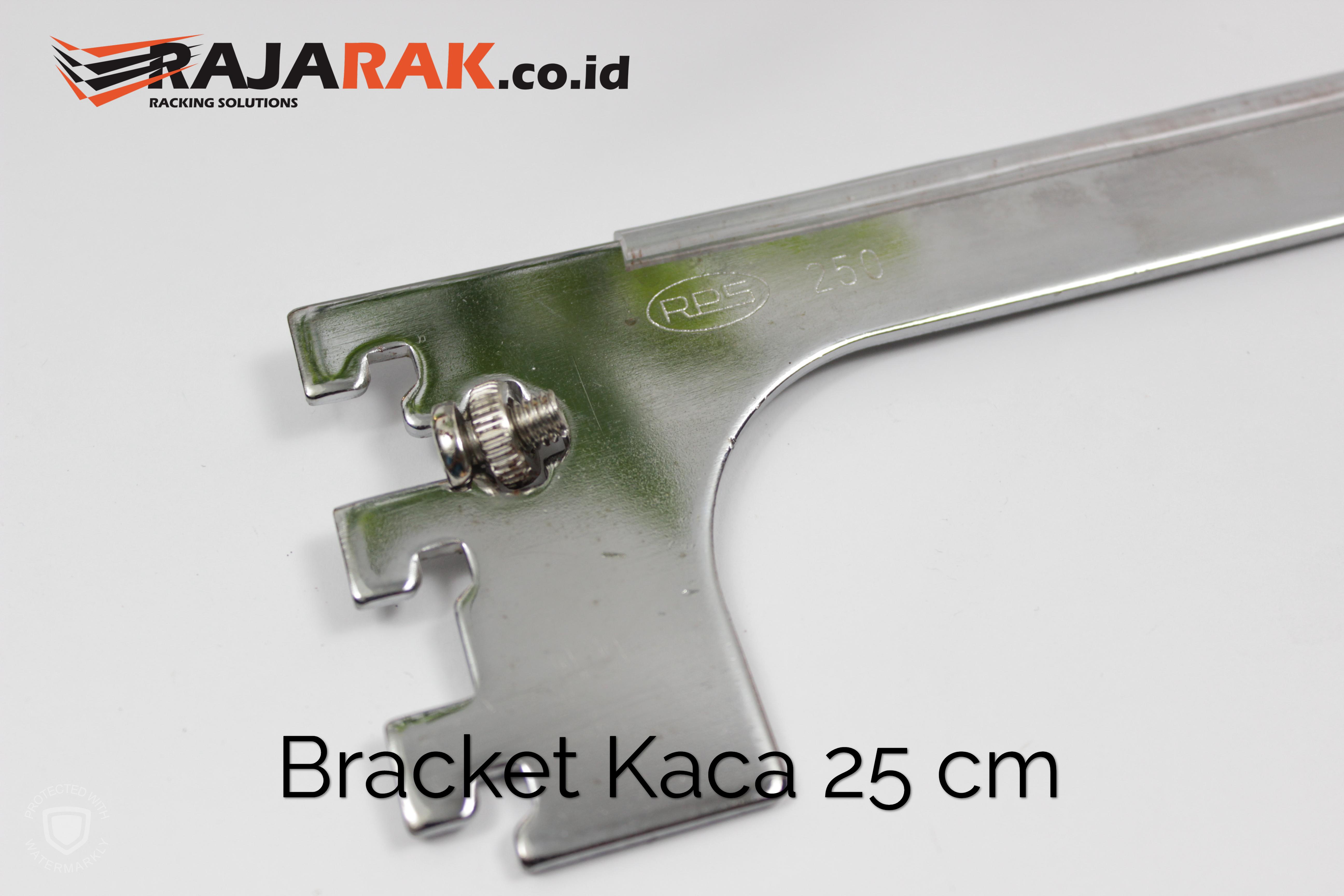 Daun Bracket Kaca 25 cm Tebal 3 mm Warna Chrome