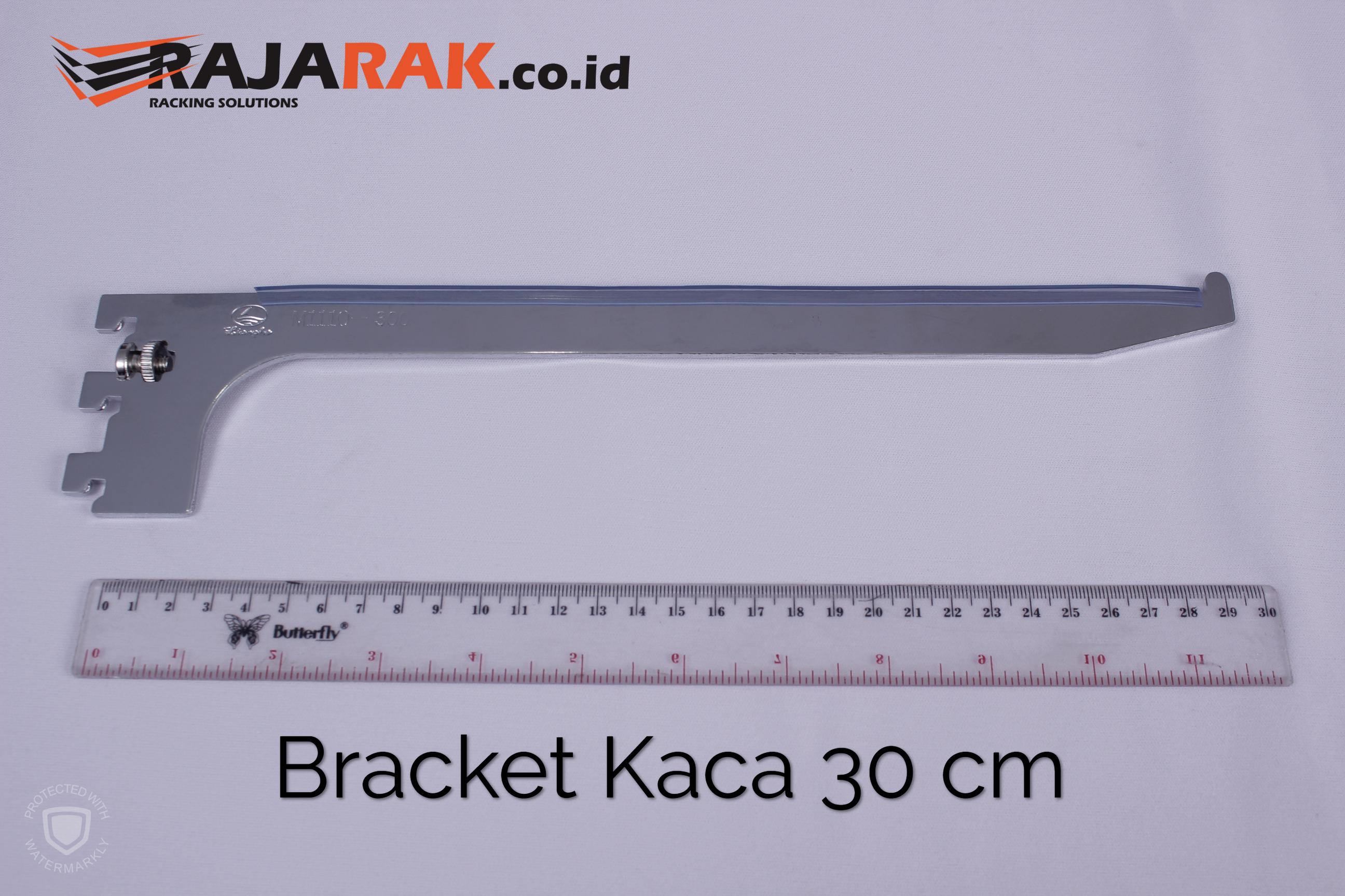 Daun Bracket Kaca 30 cm Tebal 3 mm Warna Chrome