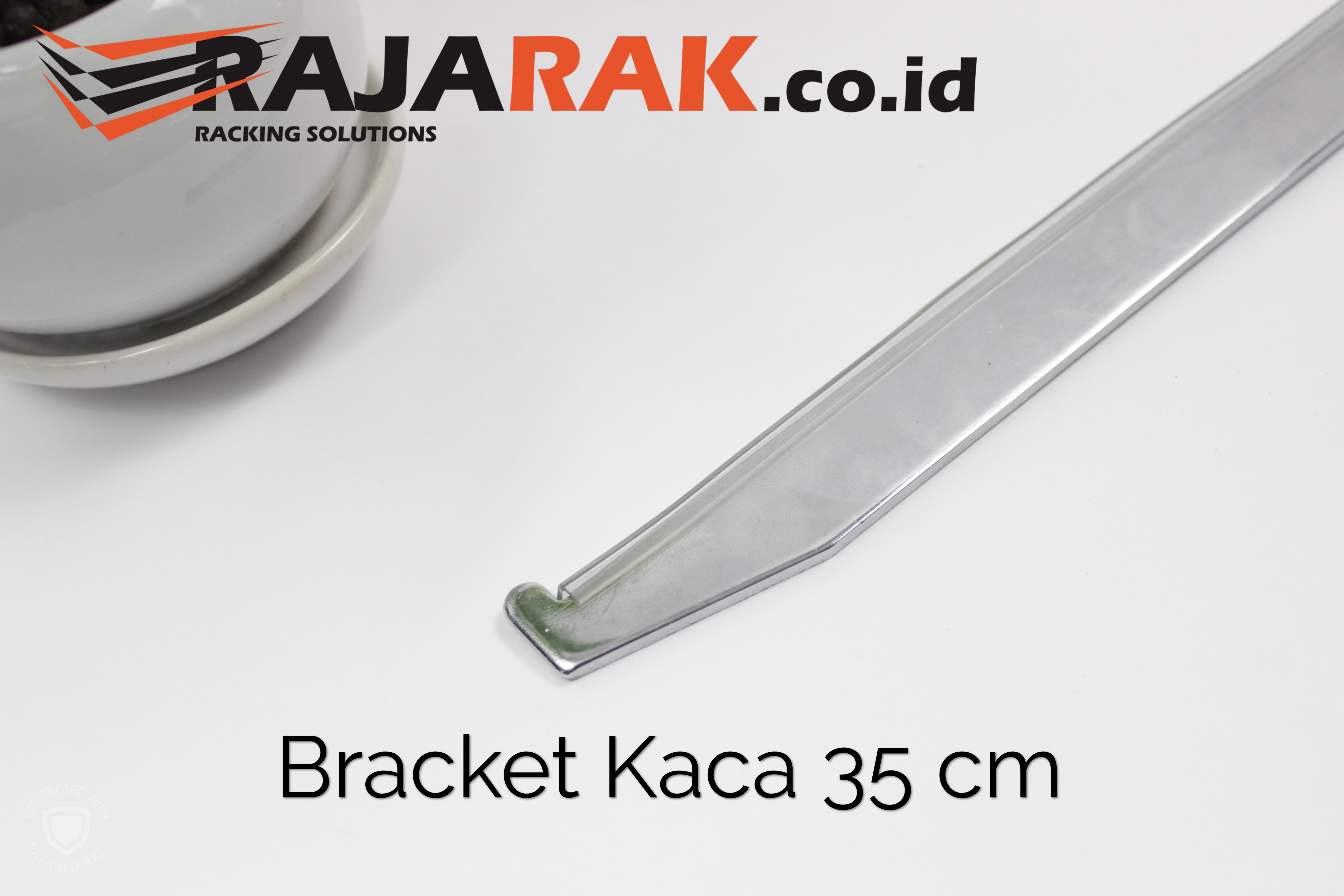 Daun Bracket Kaca 35 cm Tebal 3 mm Warna Chrome
