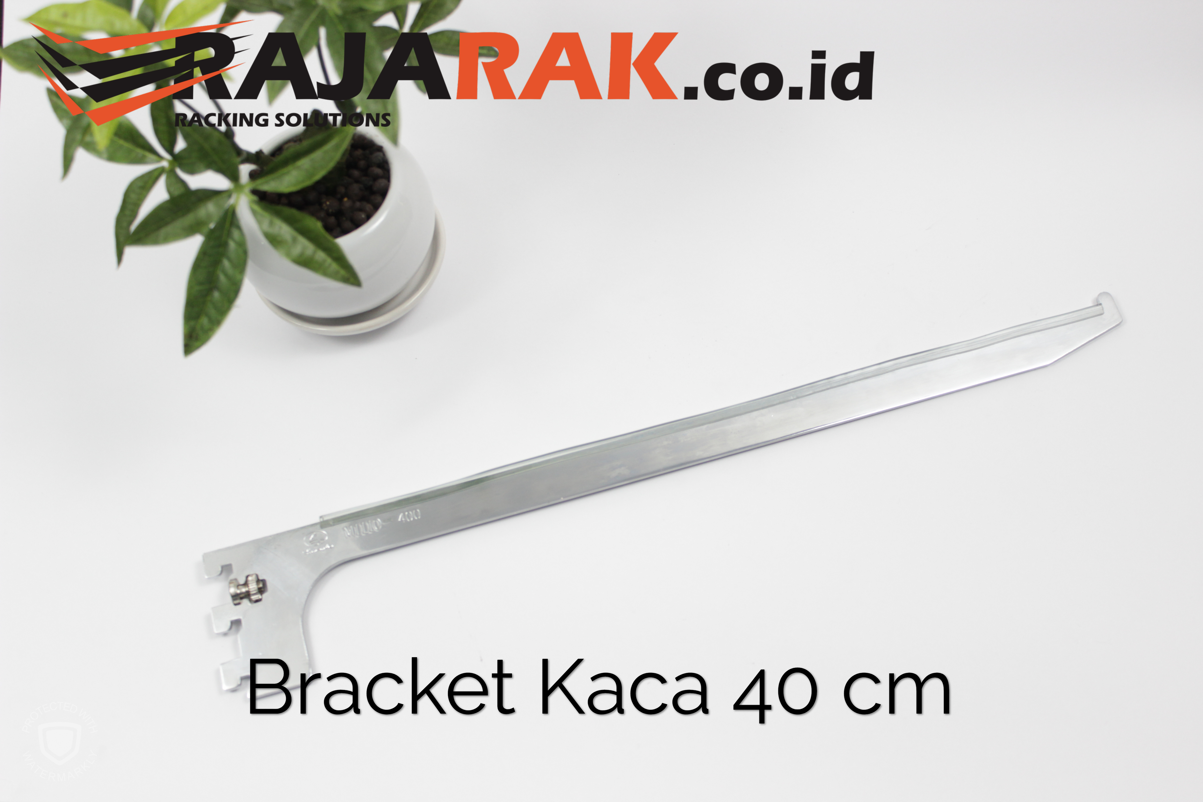 Daun Bracket Kaca 40 cm Tebal 3 mm Warna Chrome
