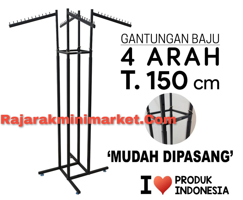 Rak Gantungan Display Baju 4 Arah