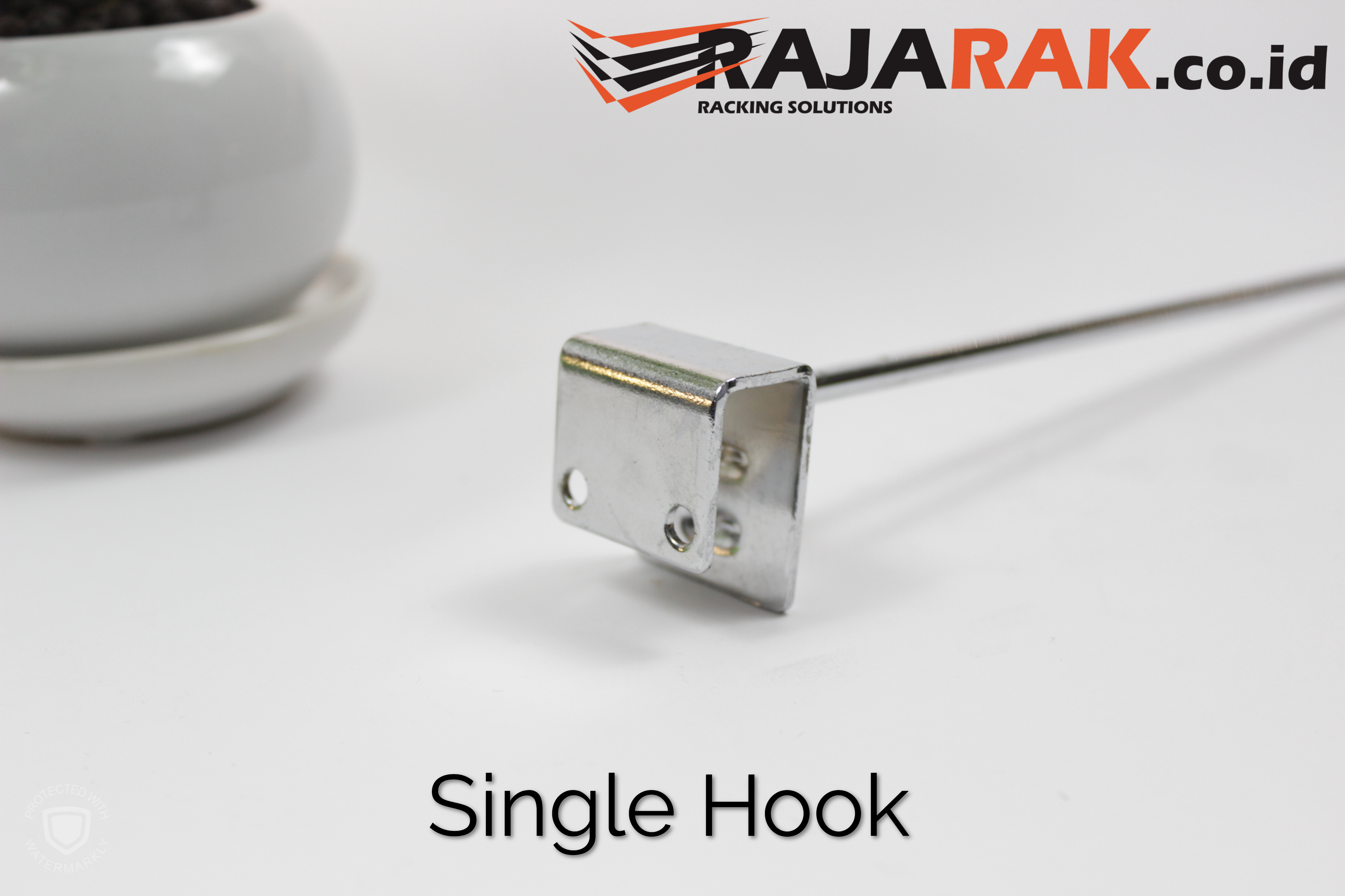 Single Hook 5 cm CHROME - Single Hook Pipa Kotak - Cantolan Kotak Display Aksesoris